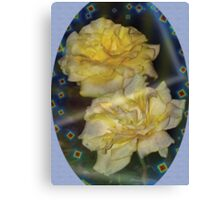 Yellow roses emblem with blue background Canvas Print