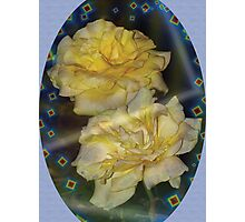 Yellow roses emblem with blue background Photographic Print