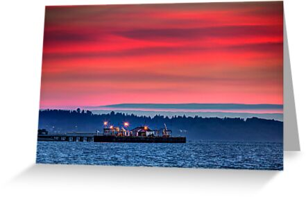 Puget Sound Sunset and the Richmond Beach Oil Dock by Jim Stiles