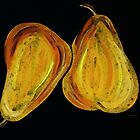 Two Pears - Yellow Gold Fruit Food Art by Sharon Cummings