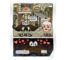 Mustache Loves Cupcake Poster