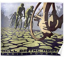 cycling illustration HELL OF THE NORTH retro Paris Roubaix  Poster