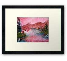 Pink Lake Oil Painting Framed Print
