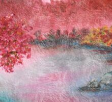 Pink Lake Oil Painting Sticker