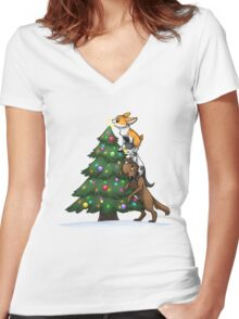 Tree Topper Tower Women's Fitted V-Neck T-Shirt