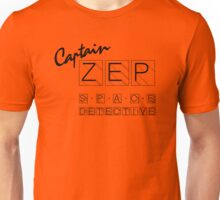 Captain Zep - Space Detective (black text) Unisex T-Shirt