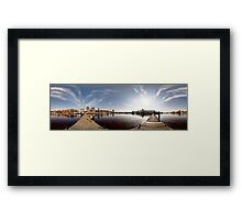 On the other side of port panorama, Riga, Latvia Framed Print