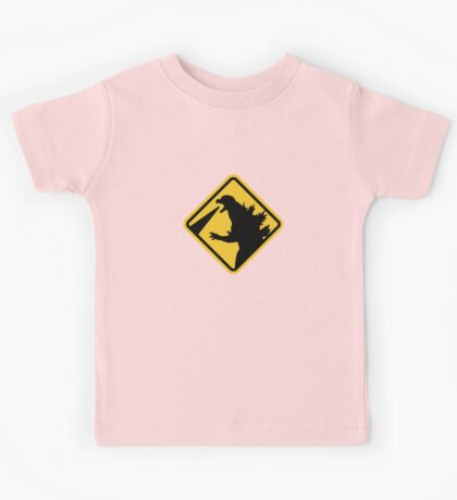 Beware of Japanese Monsters Road Sign Kids Tee
