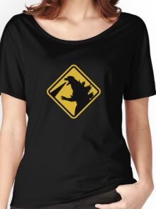 Beware of Japanese Monsters Road Sign Women's Relaxed Fit T-Shirt