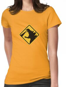Beware of Japanese Monsters Road Sign Womens Fitted T-Shirt