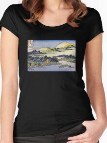 'Landscape of Ryukyu' by Katsushika Hokusai (Reproduction) Women's Fitted Scoop T-Shirt