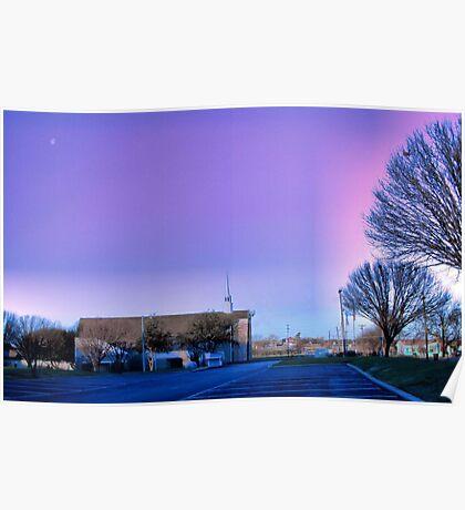 Moon over West Sherman Baptist Church, Sherman, Texas Poster