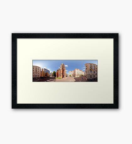 St. Gertrude Old Church panorama in Riga, Latvia Framed Print