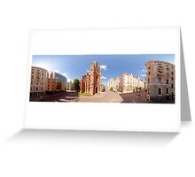 St. Gertrude Old Church panorama in Riga, Latvia Greeting Card