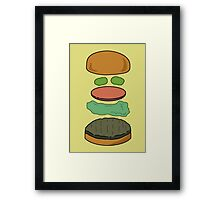 """Deconstructed Burg"" Deconstructed Burger Hamburger Lettuce Tomatoes Foodie Food Humor Silly Funny Pickles Bun Framed Print"