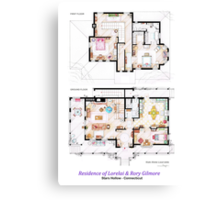 House of Lorelai & Rory Gilmore - Both Floorplans Canvas Print