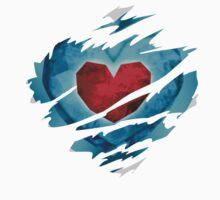 Heart piece tearing through shirt - Ocarina One Piece - Short Sleeve