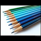 Caran D'Ache Colored Pencils In Different Shades Of Blue And Green - Swiss Made by © Sophie Smith