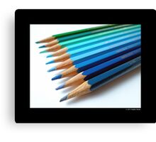 Caran D'Ache Colored Pencils In Different Shades Of Blue And Green - Swiss Made Canvas Print