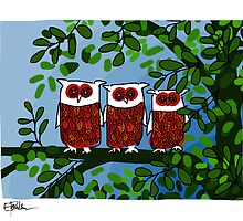 Three owls blue by LizPoulain