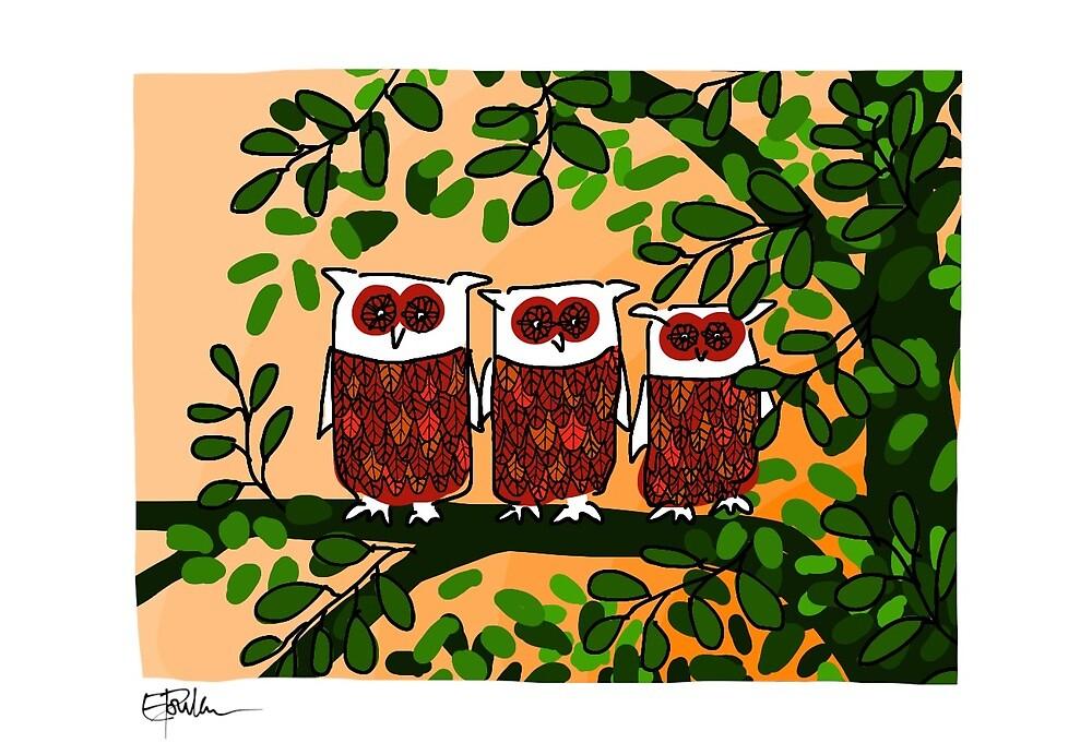 Three owls peach by LizPoulain