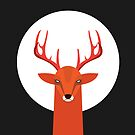 Deer and Moon by volkandalyan