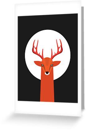Deer and Moon by volkandalyan