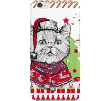 Cat  Ugly Christmas Sweater iPhone Case/Skin