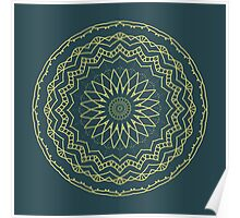 Abstract mandala in cobalt green and yellow Poster