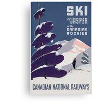 Poster advertising the Canadian Ski Resort Jasper (colour litho), Canadian School (20th Century) Canvas Print