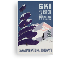 Poster advertising the Canadian Ski Resort Jasper (colour litho), Canadian School (20th Century) Canvas Print