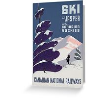 Poster advertising the Canadian Ski Resort Jasper (colour litho), Canadian School (20th Century) Greeting Card