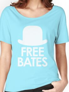 Free Bates white design Women's Relaxed Fit T-Shirt