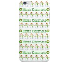 Vintage white green snowman Merry Christmas  iPhone Case/Skin