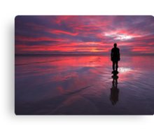 Sunset on one of Gormley's statues on Crosby Beach Canvas Print