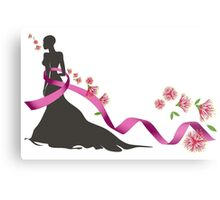 Pink Ribbon with Pohutukawa Metal Print