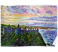 Tranquil Outlook, Dunluce Castle, County Antrim. Painted from a photo by Sean McAughey Poster