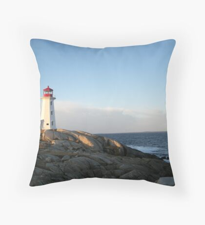 Peggys Cove at Dawn Nova Scotia Canada by Shawna Mac Throw Pillow
