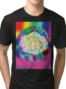 Rainbow rose with some red accents Tri-blend T-Shirt