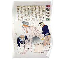 Japanese sailor and soldier are tending to the wounds in the legs and back of a Russian soldier 001 Poster
