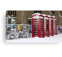 English telephone boxes in red and white Canvas Print
