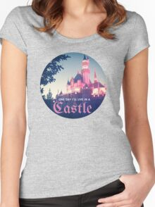 Magic Kingdom Castle Princess Typography Fairy  Women's Fitted Scoop T-Shirt