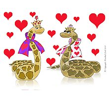 Snake King and Queen of Hearts Photographic Print