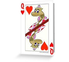 Smiling Snake Queen of Hearts Greeting Card