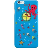 Cute Cartoon Submarine and Sea Animal (Outside) iPhone Case/Skin