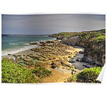 Rock Pools Caves Beach Poster