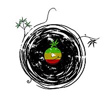 Reggae Music Peace - Vinyl Records Weed Pot - Cool Retro Music DJ T-Shirt Photographic Print