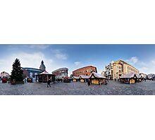Doma square panorama, Riga, Latvia in Christmas Photographic Print