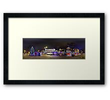 Doma square panorama at night, Riga, Latvia in Christmas Framed Print