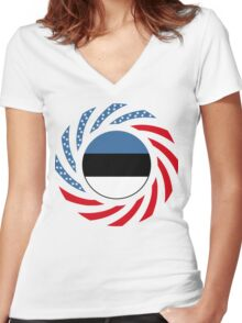Estonian American Multinational Patriot Flag Series Women's Fitted V-Neck T-Shirt